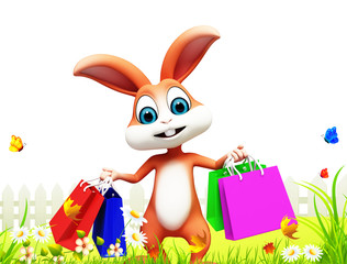 happy smiling bunny with shopping bags