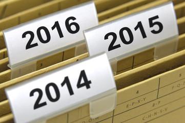 Akten Ablage für Jahr 2014 2015 2016