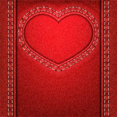 heart red denim