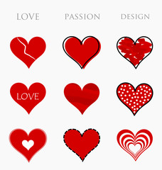 Love, passion and design hearts