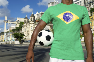 Brazilian Football Player Salvador Elevator with Soccer Ball