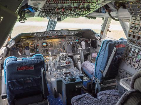 Cockpit of a jumbo jet