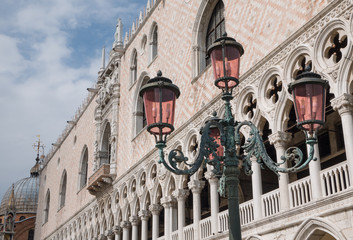 The columns and pink & white marble walls of the Doge's Palace i