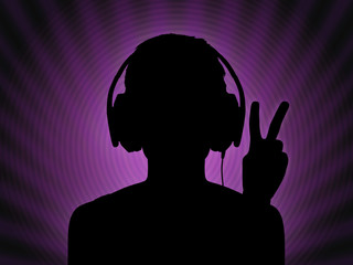dj girl in headphones with a peace sign