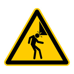 wso27 WarnSchildOrange - english warning sign: head injury hazard - German Warnschild: Warnung vor Kopfverletzungen - g435