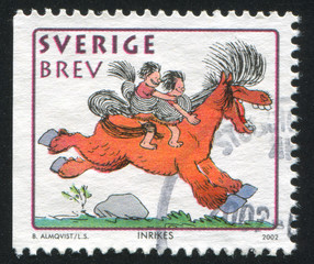 Boy and girl on horse by Bertil Almqvist