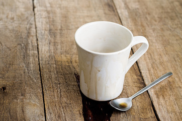Empty coffee mug, with stains on wooden background