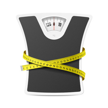 Bathroom scale with measuring tape