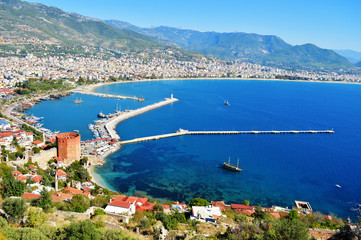 Aluminium Prints Turkey View of Alanya harbor from Alanya peninsula. Turkish Riviera