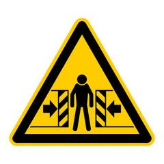 wso28 WarnSchildOrange - english warning sign: warning crush hazard - German Warnschild: Warnung vor Quetschgefahr - g436