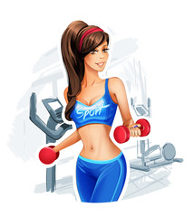 Pretty woman holding weights