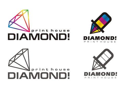 Diamond print logo set