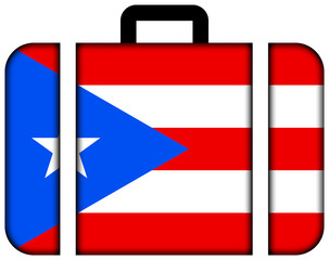 Suitcase with Puerto Rico Flag