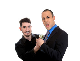 sly agent happily stealing from shocked, surprised business man
