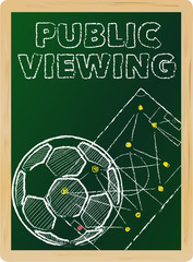 soccer public viewing, free copy space, vector illustration