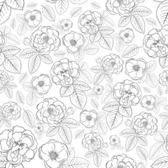 Seamless pattern of flowers, black on white