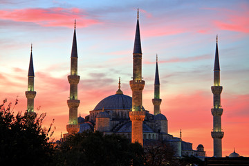 Illuminated Blue Mosque at Sunrise, Istanbul