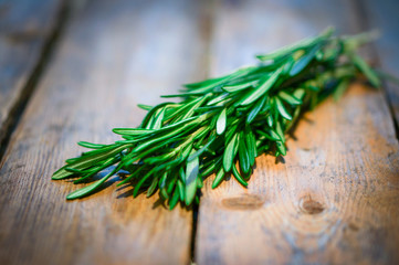 Fresh rosemary on wooden background