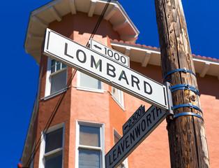 San francisco Lombard Street sign in California