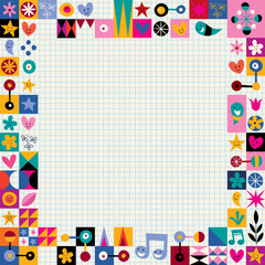 hearts, stars and flowers abstract art border