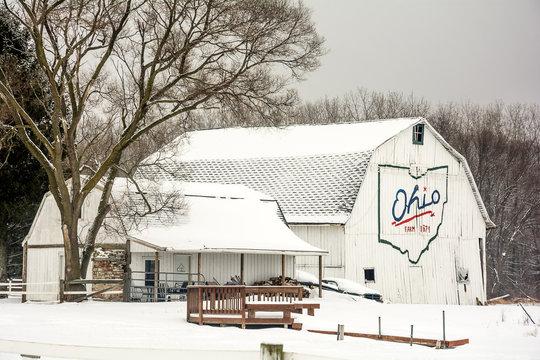 Snowy Winter Barn