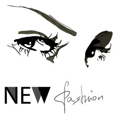 Fashion woman face new look vector illustration