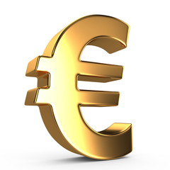 Sign of euro on white isolated background