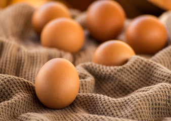 Egg Still Life on brown cloth