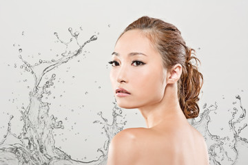 Asian beauty with water