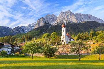 Grainau village and Zugspitze top of Germany Wall mural