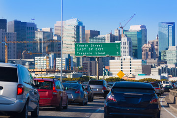 Wall Mural - San Francisco city traffic in rush hour with downtown skyline
