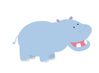 Cute Hippo - Vector