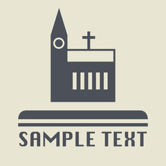 Church icon or sign, vector illustration
