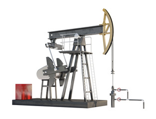 3d generic oil pump jack isolated on white background