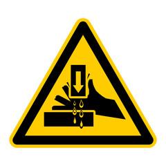 wso31 WarnSchildOrange - english warning sign: danger keep hands clear - German Warnschild: Warnung vor Handverletzungen - g439