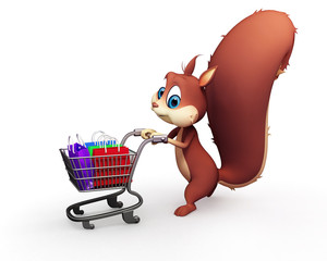 Squirrel with shopping trolley