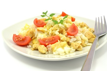 casserole with rice, chicken and cheese