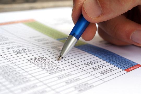 Bilanz Buchführung Liste mit Gewinnermittlung