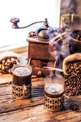 Fototapete - Hot coffee with the scent of cinnamon
