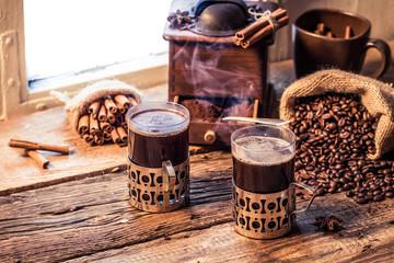 Fototapete - Freshly brewed coffee in the old style