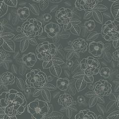 Seamless pattern of flowers, brown on dark gray