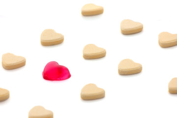 heart shape candy isolated white
