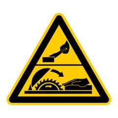 wso34 WarnSchildOrange - english warning sign: danger moving saw blade - German Warnschild: Gefahr durch rotierendes Sägeblatt - g442