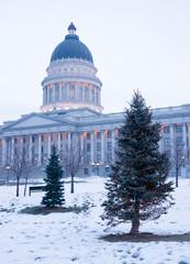 Winter Deep Freeze Sunrise Landscape Utah State Capital