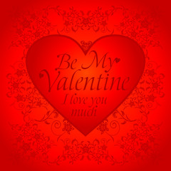 Red  Valentines day background card with big heart