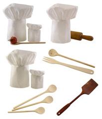 Kitchen utensils and toques set