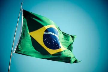 Papiers peints Brésil The national flag of Brazil (Brasil) flutters in the wind