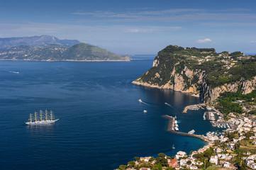bird's-eye view of the city and port. Italy. Capri. Marina Grand