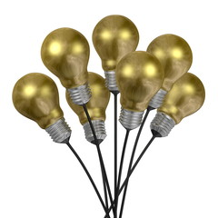 Bouquet of golden light bulbs with aluminium caps