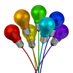 Bouquet of many-colored light bulbs on wires of different colors